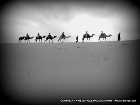 Camel caravan in Sahara Desert Morocco by Kristen Gill